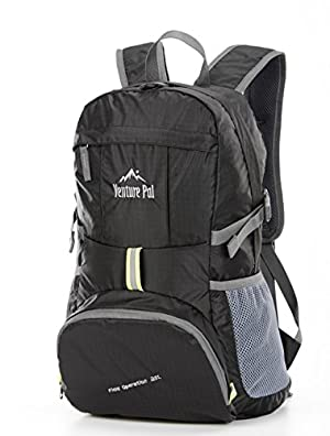 6f0b037cf0c Venture Pal Ultralight Lightweight Packable Foldable Travel Camping Hiking  Outdoor Sports Backpack Daypack (Black)