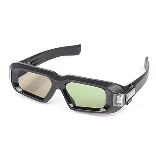SainSonic Zebra 10M 144Hz 3D Active Shutter Glasses Rechargeable IR 3D Glasses for SamSung Vizio Acer ViewSonic BenQ Vivitek Optoma Infrared 3D DLP-Link Ready Projector, HDTV, Black