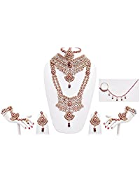Designer Maroon Stone Patwa Wedding Bridal Jewellery Set