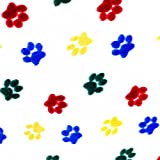 """Multi-Colored Heart Paws on White Anti Pill Animal Theme Fleece Fabric, 60"""" Inches Wide - Sold By The Yard"""