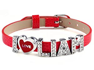 I Love Liam I Love Id One Direction Member Red Bracelet Link Cuff Bangle Fashion Jewelry by Yiwu City Yinuo E-Commercial Business Co.,Ltd