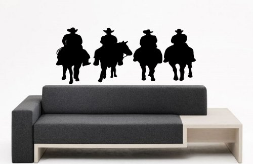 Room Wall Decor Vinyl Sticker Room Decal Art Design Cowboys On Horses With Hat Whip 832 front-1055020