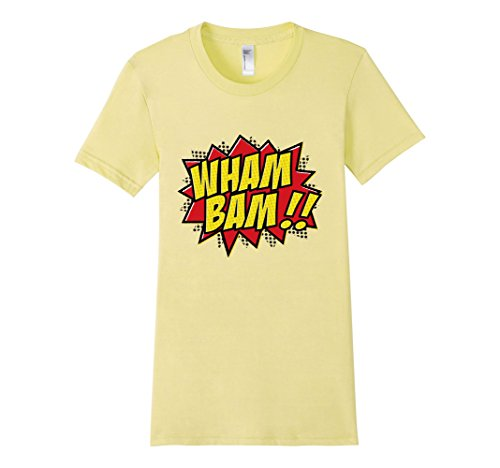 Womens-EmmaSaying-Wham-Bam-Pop-Art-Retro-Teen-Bazooka-Style-Shirt-Lemon