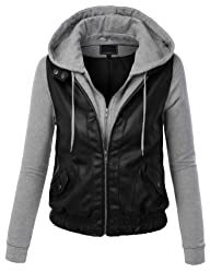 MBJ Womens Faux Leather Motorcycle Ja…