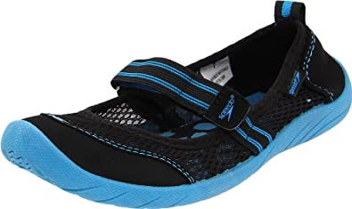 Speedo Women's Beach Runner Water Shoe,Black/Turquoise,6 M US