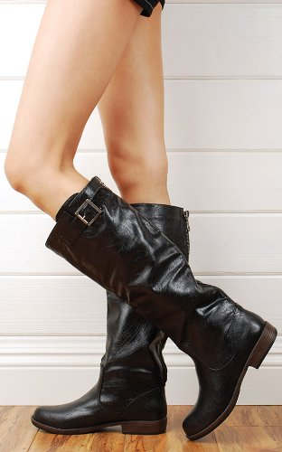Montage01n Back Zipper Leatherette Riding Boots BLACK
