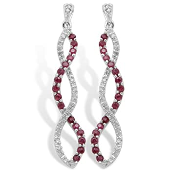 10k White Gold Ruby and Diamond Twist Earrings