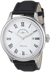 Zeno Watch Basel - Reloj analógico para caballero de cuero blanco
