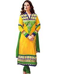 Exotic India Cyber-Yellow Long Choodidaar Kameez Suit With Ari Embroide - Yellow
