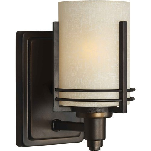 Forte Lighting 5389-01-32 Contemporary 1-Light Wall Sconce With Umber Linen Glass, Antique Bronze Finish front-976691