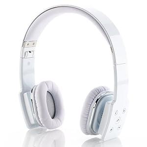 deleyCON Bluetooth Headset Kopfhörer Ohrhörer - [Weiß] - Stereo - verstellbare Größe - einklappbar - extra weiche Polster