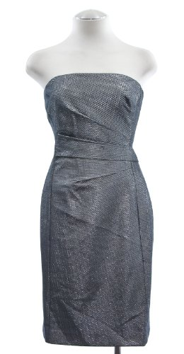 Lauren Ralph Lauren Silver Jacquard Strapless Sheath Dress 12