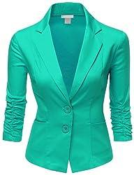 Doublju Women Simple Tailored Boyfriend Cropped Blazer Suit Jacket