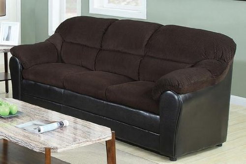 ACME 15975 Connell Sofa, Chocolate Corduroy and Espresso PU