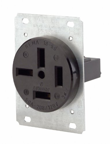 Leviton 8350 50-Amp, 120/208 Volt, Flush Mounting Receptacle, Straight Blade, Industrial Grade, Non-Grounding, Black