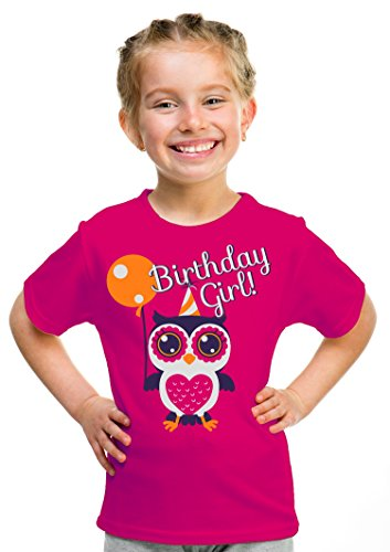 Birthday Girl Owl | Cute Owl Girly B-day Party Top, Girl's Unisex T-shirt - (Youth,M)