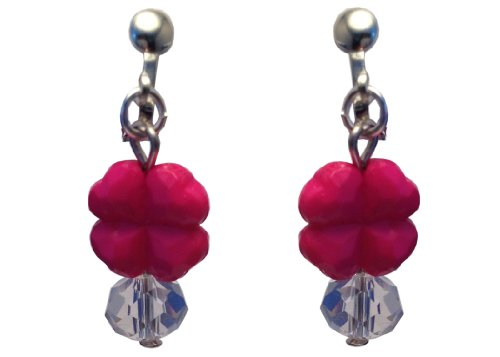 Kids Clip On Earrings Hot Pink Clover with Glass Beads