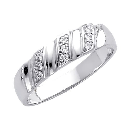 14K White Gold Round CZ Cubic Ziconia Wedding Band Ring for Men