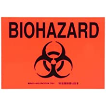 "Brady 85553 10"" Width x 7"" Height B-302 Polyester, Black on Orange Biohazard Sign, Legend ""Biohazard"" (with Picto)"