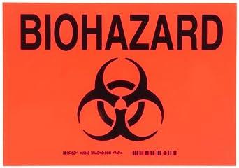 Brady Black On Orange Color Biohazard Sign, Legend Biohazard (With Picto)