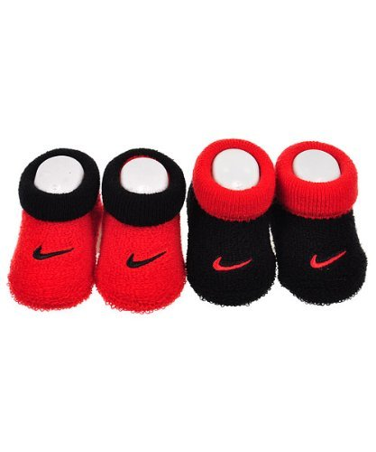 Nike Newborn Infant Booties (2 Pair) Balck Red/Red Black