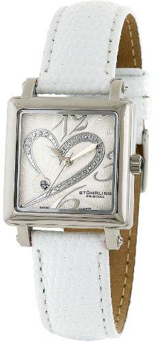 Stuhrling Original Classique 'Courtly' Diamond Swiss 253.1115P2 - Reloj de mujer de cuarzo (suizo), correa de piel color blanco