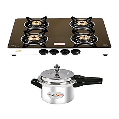 Brightflame 4 Burner Black Gas Stove & Aluminium Pressure Cooker 5 Ltr