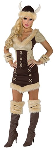Underwraps Womens Suede Look Viking Queen Theme Party Fancy Halloween Costume