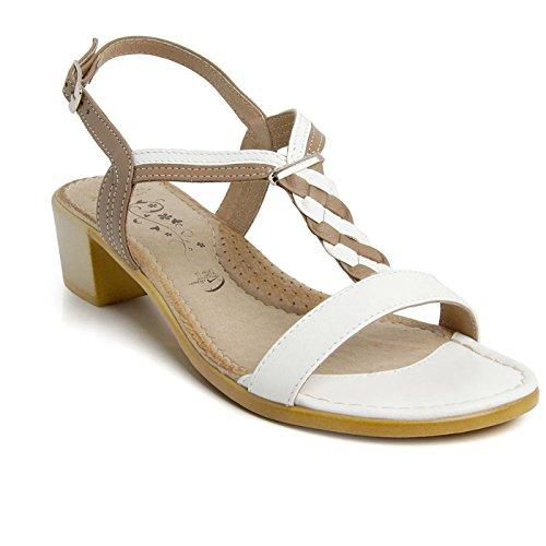Batz MELISSA di Alta Qualità Sandali Estivi con Cinghia Posteriore in Pelle da Donna, Bianco Mix, EU 38