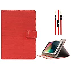 DMG Protective Flip Book Cover Stand View Case for Hcl V3 (Red) + 3.5mm Flat AUX Cable with Mic