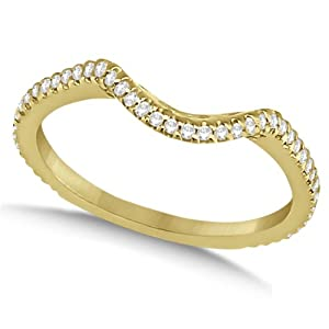 Allurez 0.24ctw Diamond Contoured Wedding Ring Curved Band 14K Yellow Gold 6.75
