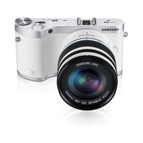 Samsung NX300 20.3MP CMOS Smart WiFi Mirrorless Digital Camera with 18-55mm Lens and 3.3″ AMOLED Touch Screen (White)