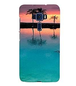 PrintVisa Travel Beach Sunset Design 3D Hard Polycarbonate Designer Back Case Cover for ASUS ZENFONE 3 Deluxe