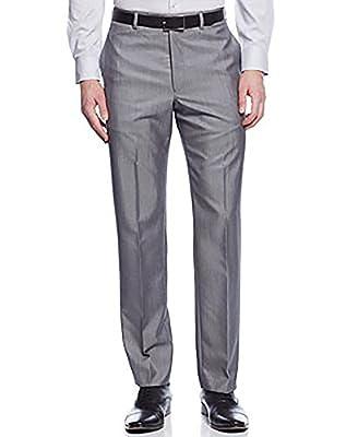 Calvin Klein Grey Solid Slim-fit Dress Pants