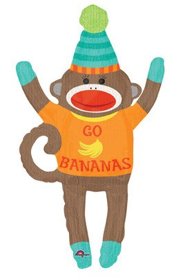 "Sock Monkey Go Bananas Jungle Large Figure 42"" Birthday Party Mylar Foil Balloon at 'Sock Monkeys'"