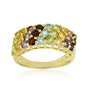 Gold Tone over Sterling Silver 3 Row Multi Gemstone Wedding Band Ring
