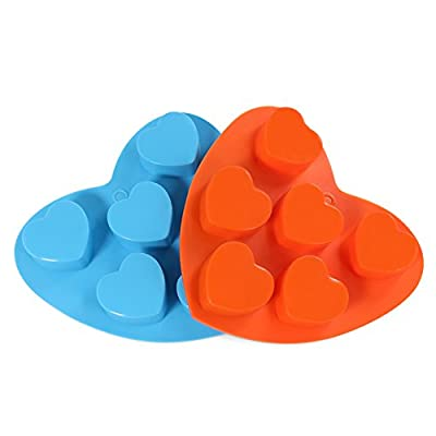 Candy Making Molds, 2PCS YYP [6 Cavity Mini Love Heart Shape Mold] Silicone Candy Molds for Home Baking - Reusable Silicone DIY Baking Molds for Candy, Chocolate or More, Set of 2