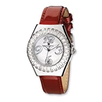 Unisex Charles Hubert Red Leather Stainless Steel Watch
