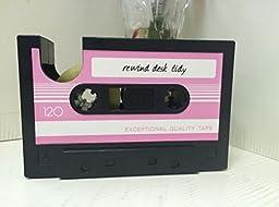 Rewind Desk Tidy Retro Cassette Tape Dispenser (Pink)