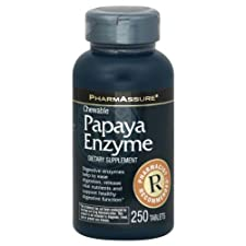 PharmAssure Papaya Enzyme, 250 Chewable Tablets