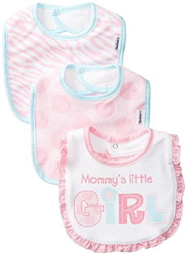 Gerber Baby-Girls Newborn 3 Pack Girl Terry Dribbler Bib, Pink, One Size