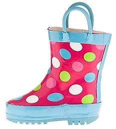 Chatties Toddler Girls Printed Rainboot Size 11/12 Polka Dots