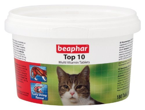 Beaphar Top 10 Cat Multi Vitamin Tablets 180 Tablets / 117G Vitamins & Minerals