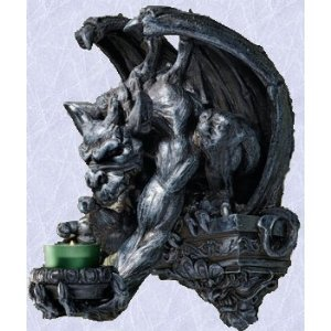 Gargoyle Statue Gothic Medieval candle holder sculpture (the digital angel)