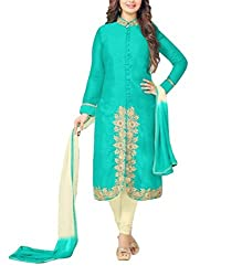 Regalia Ethnic New Collection Sky Blue And Cream Embroidered Cotton Semistitched Dress Material With Matching Dupatta
