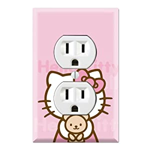 Hello kitty pink teddy bear decorative duplex outlet wall plate cover