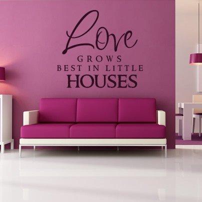Amore cresce meglio In piccole case Wall Stickers citazione Art decalcomanie da muro, H = 50cm, W = 50cm