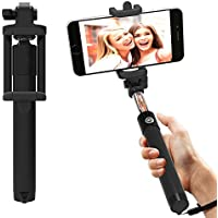 AT Shopping AUX Selfie Stick/Rod Expandable upto 29 Inches Compatible For Celkon A119Q Signature HD Mobile Phone - Black