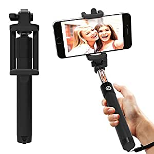 AT Shopping Selfie Stick/Rod with AUX cable, Compatible with verykool SL4500 Fusion Mobile Phone, Expandable upto 29 Inches (Black)