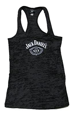 Jack Daniels Women's Daniel's Burnout Racerback Tank Top Black X-Large